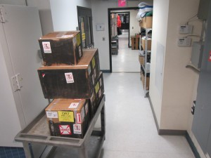 Boxes for our project remain unpacked and will stay on station awaiting our eventual (we hope) return.