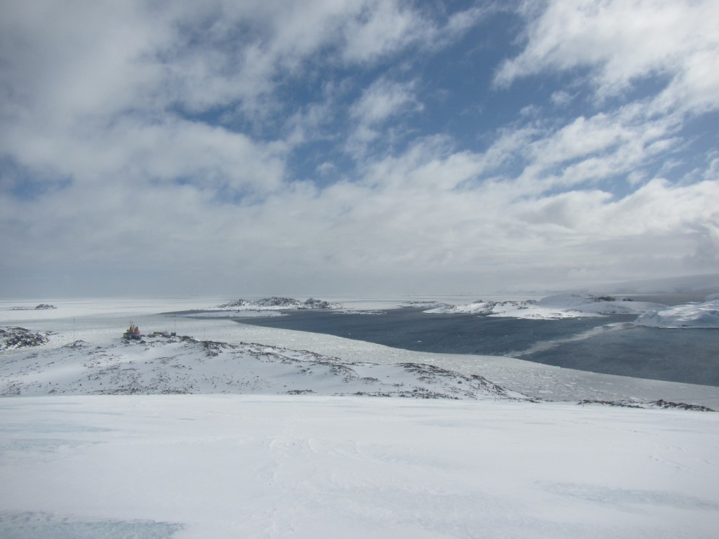 A hike up the glacier in back of the station on Sunday yielded some spectacular views of the sea and islands that lie to the west. Drifting sea ice is visible in the foreground, blown toward the station by brisk west winds.