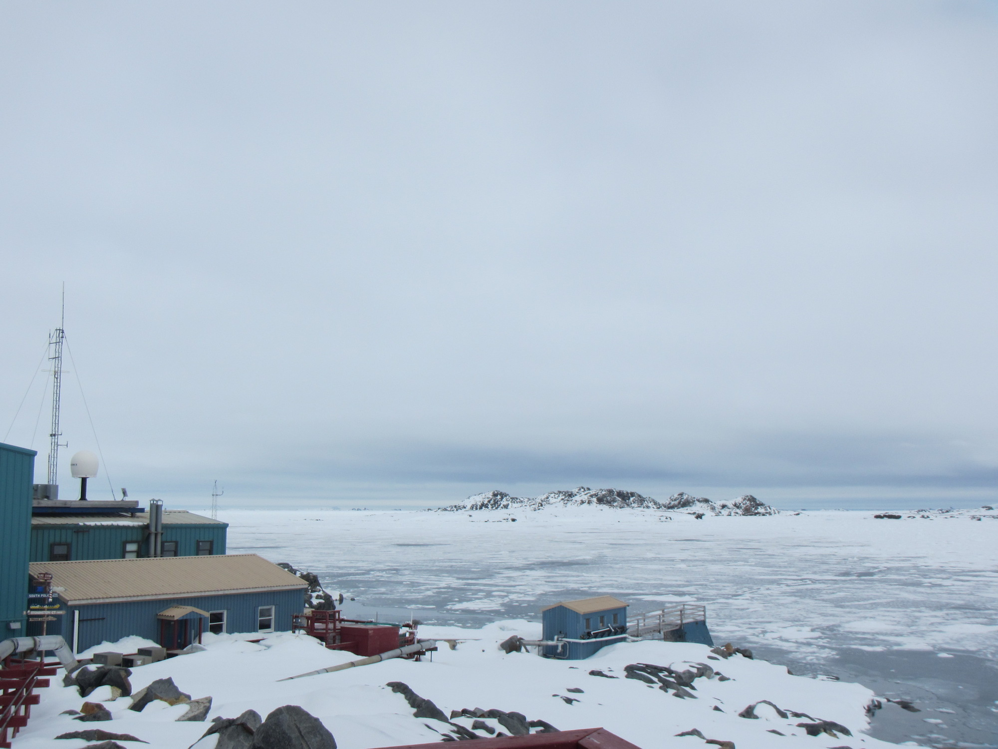 After a brief clearing, a solid layer of sea ice has blanketed the waters off Palmer Station for more than two weeks.