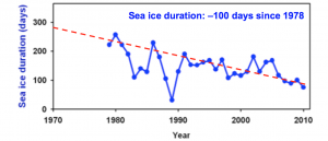 Unlike other regions of Antarctica, the West Antarctic Peninsula has seen a dramatic decrease since 1970 in the number of annual days with sea ice cover. Scientists are just beginning to understand the specific mechanisms through which anthropogenic activities have influenced this change. Data: Hugh Ducklow, LDEO.