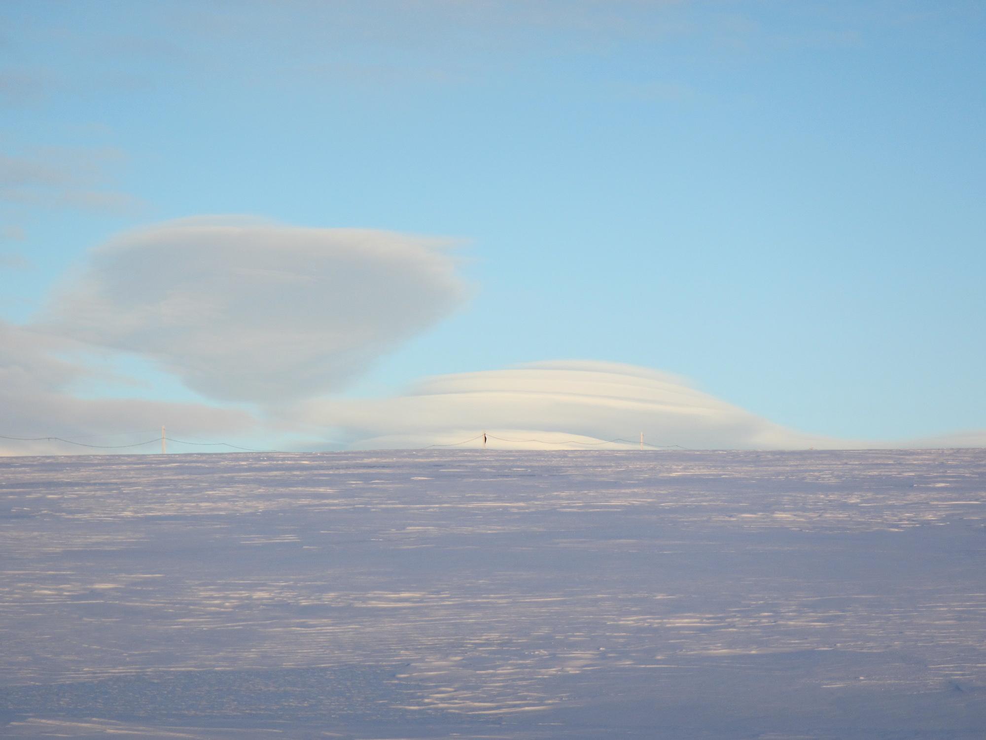 Lenticular clouds hover over the Marr Ice Piedmont.