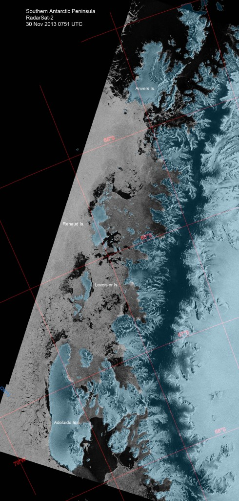 A Nov. 30 image from the RadarSat-2 satellite showed the extent of the sea ice that lingered for months to the south and west of Anvers Island. In this false-color image, sea ice is white, while land masses and terrestrial ice have a blueish tint.