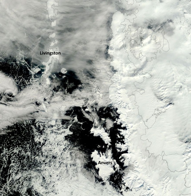 A Nov. 4, 2015, image from the MODIS Aqua satellite shows a tongue of ice extending toward the pole from Palmer's location at the southern tip of Anvers Island. (This was taken on a rare day of mostly clear skies; the wispy features in the image are clouds.)