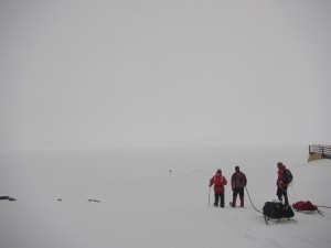Members of the B-045 and B-019 sampling team head out to the Arthur Harbor ice station on Nov. 10, 2015. While on station, we collected 120 liters of water for an on-deck experiment back at Palmer.