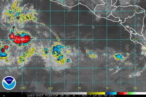 The cause of our rainy day: Invest 96E. (NOAA/GOES)