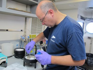 Stefan Sievert processes the filter from the Large Volume Pump. The brownish stuff is filtered microbes.