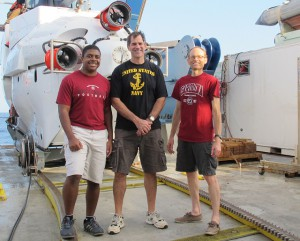 Avery Lee (left), Bruce Strickrott (center), and Scott White before their dive