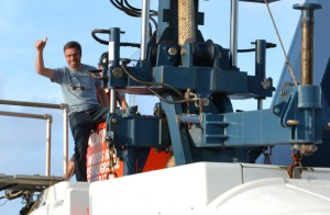 Jeremy Rich emerges from Alvin after his first dive in the sub. (courtesy Juliana Leonard)