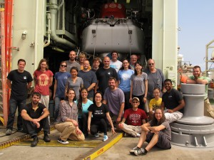 The expedition science group in front of the Alvin hangar