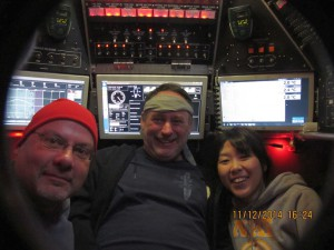 Stefan Sievert, Bob Waters, and Sayaka Mino during their Alvin dive