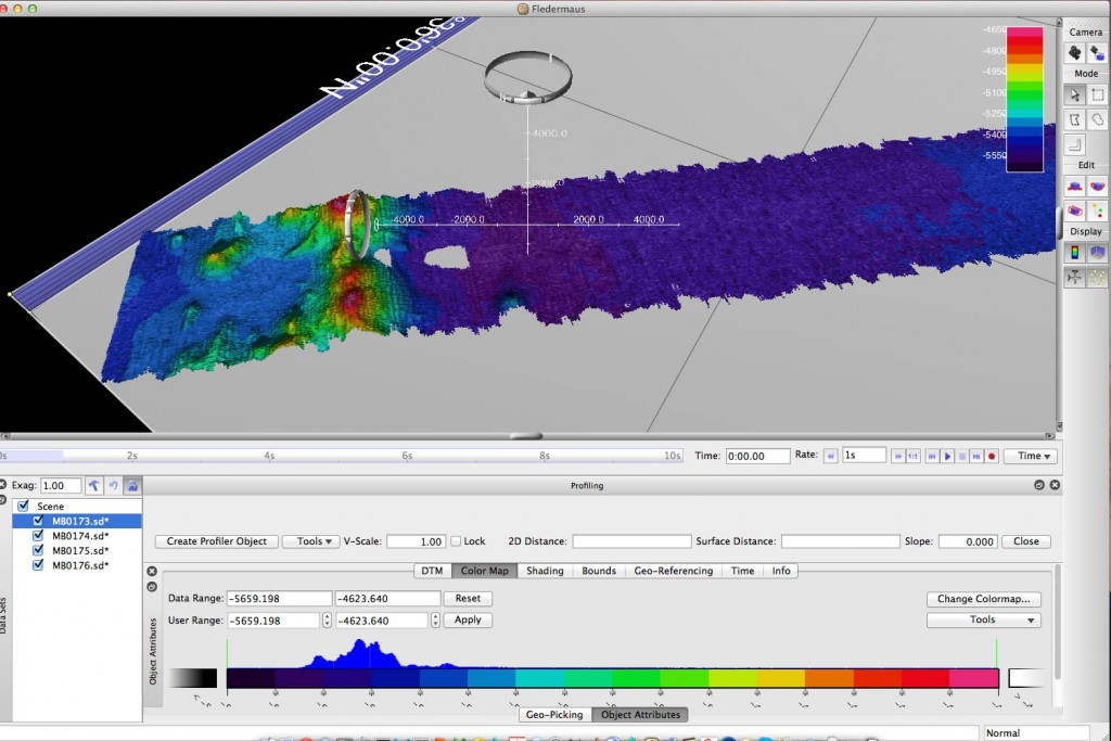Multibeam data is combined and interpolated to create 3d depth maps in Fledermaus