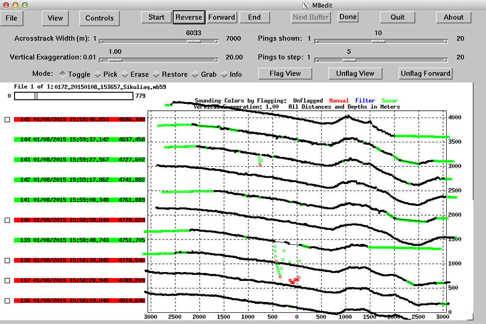 Editing interface for multibeam data. Each line is a swath showing the depth perpendicular to the ship's course