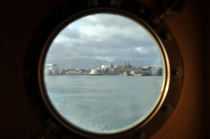 Port, through the porthole. Almost every stateroom has one of these. Bad luck, Tyler