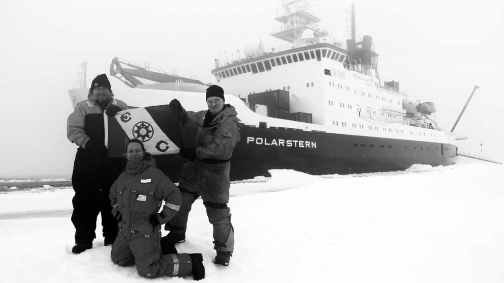 Pioneers. Chris German and Louis Whitcomb, two of the co-PIs behind the building of the Nereid Under Ice vehicle together with Antje Boetius, Chief Scientist for Polarstern Cruise 101, approximately 4000 meters (13,000 feet) above the seafloor and the Gakkel Ridge on a frozen ocean. (photo by Jill McDermott, Lehigh University)