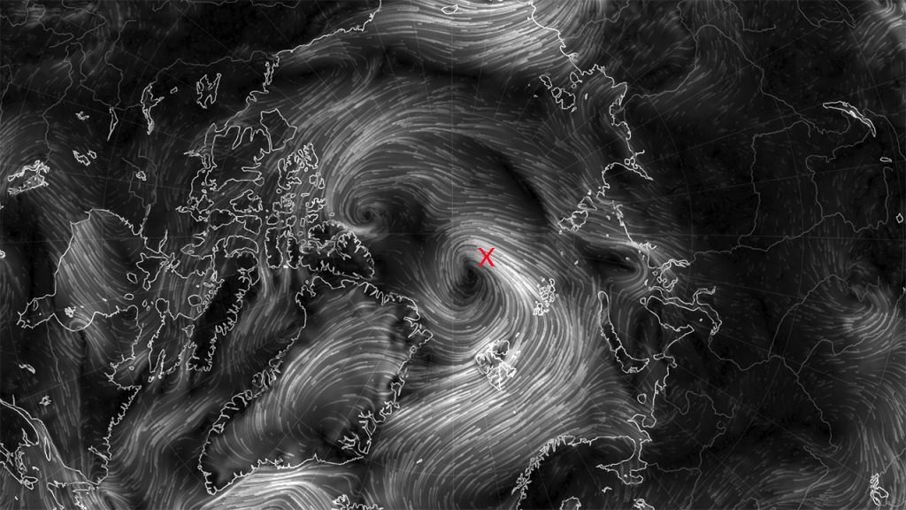 While Hurricane Matthew spins along the east coast of Florida, the scientists, engineers, and crew of Polarstern contend with their own storm in the Arctic (red X).