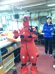 Safety drill and gumby suit.