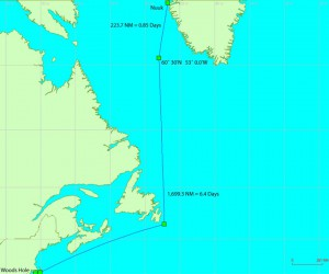 The blue line shows the route the ship will take to travel from Woods Hole to the work area in the Labrador Sea. (Map by John Dyke, Woods Hole Oceanographic Institution)