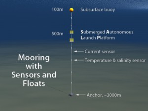 Mooring with sensors and floats