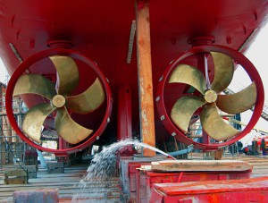 Propellers on the underside of the research vessel Knorr. (Photo by James Broda, Woods Hole Oceanographic Institution)