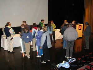 Audience members spoke informally with Dr. Bower after her lecture at the Boston Museum of Science.