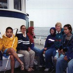 Amy Bower, Kate Fraser and Perkins school students on R/V Oceanus.