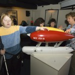 Perkins school student learning about Autonomous Underwater Vehicle ABE at Ocean Science Exhibit Center at Woods Hole Oceanographic Institution. (Photo by Tom Kleindinst, Woods Hole Oceanographic Institution)