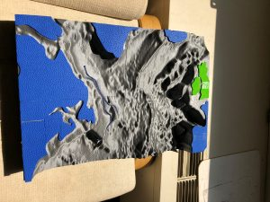 This is a photo fo the 3-D map the students used to explore the currents in the North Atlantic Ocean.