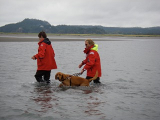 Whit, Britt, and PhD student Vera Pavel crossing a channel on the Skagit tidal flats. Photo taken by Jim Thomson (prior JP student now at UW).