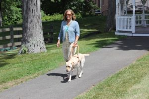 Myself and Hugger on the leisure path at the Seeing Eye (photo by Craig Garretson, Manager of Communications)