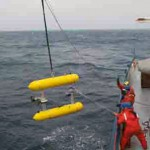 Deploying the AUV off the R/V Oceanus in the George's Bank region off the coast of Massachusetts
