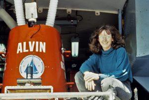 Cindy Van Dover with DSV Alvin.