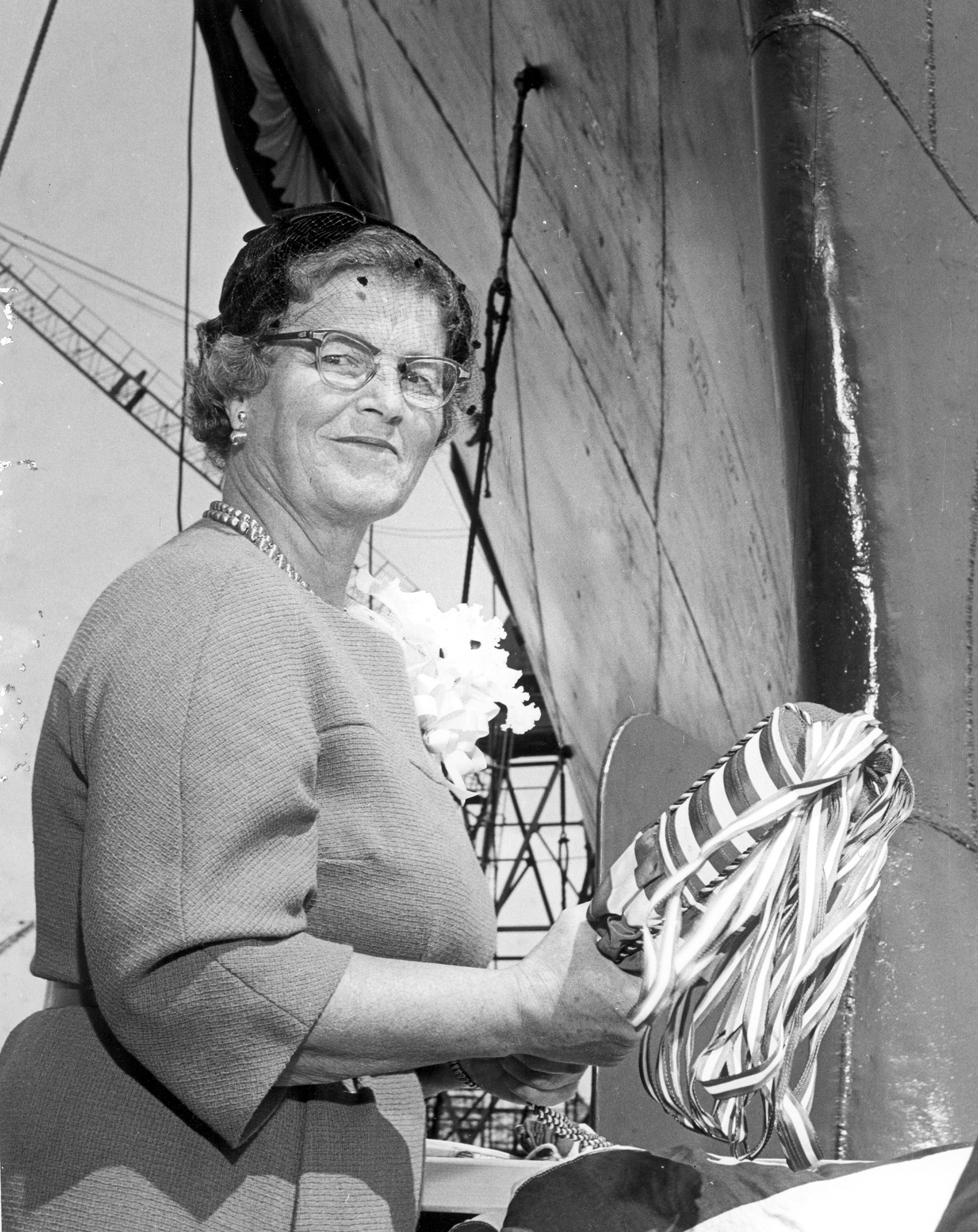 Mary Sears about to christen Atlantis II