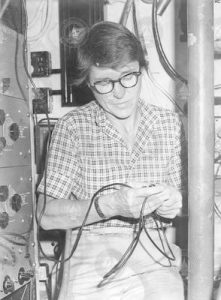 Betty Bunce in main lab of R/V Bea.